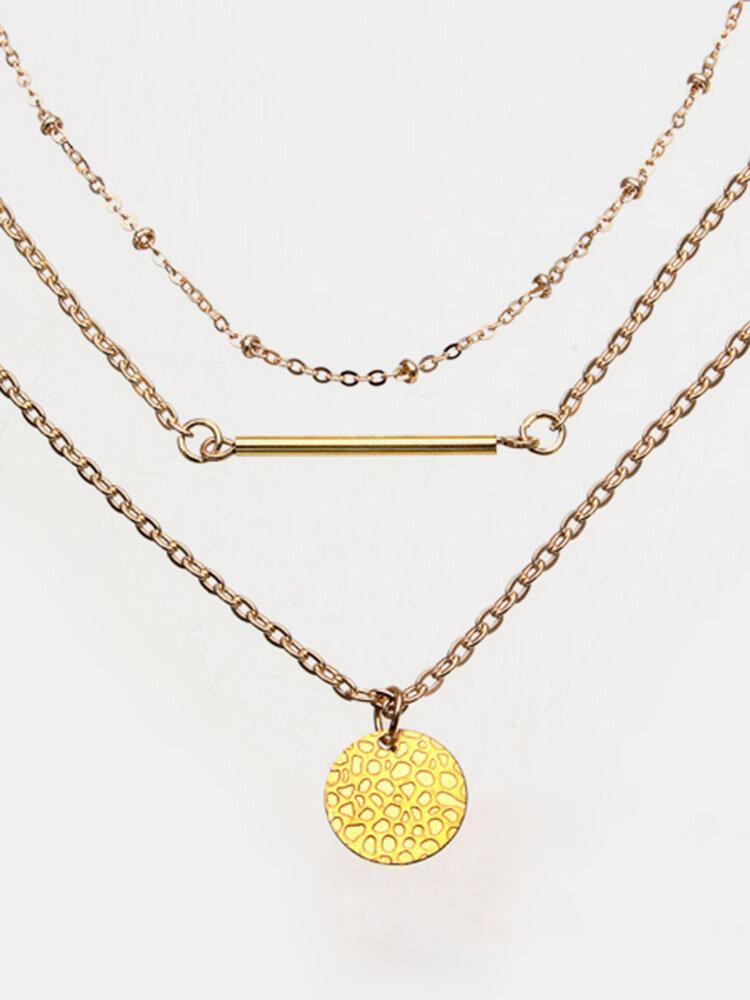 Gold Handmake Multilayer Chain Strip Necklace