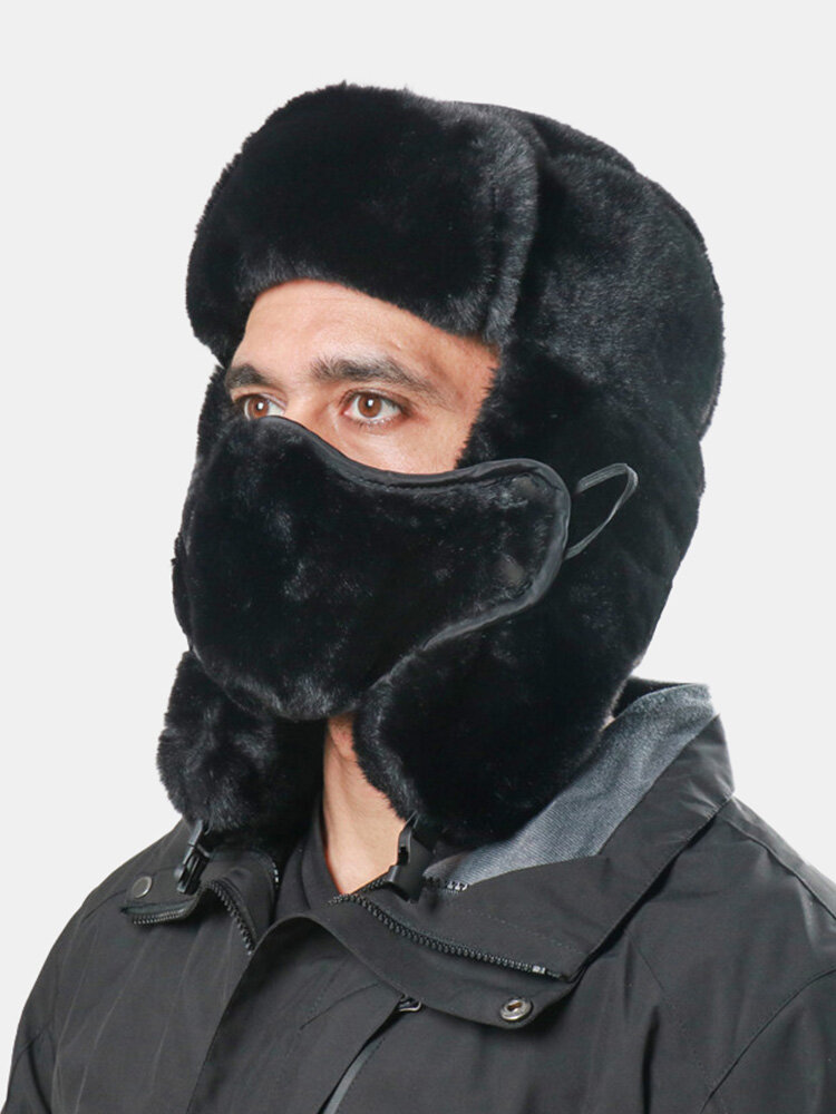 Men Faux Rabbit Fur Dacron Solid Mouth Mask Ear Protection Windproof Thicken Cold-proof Trapper Hat