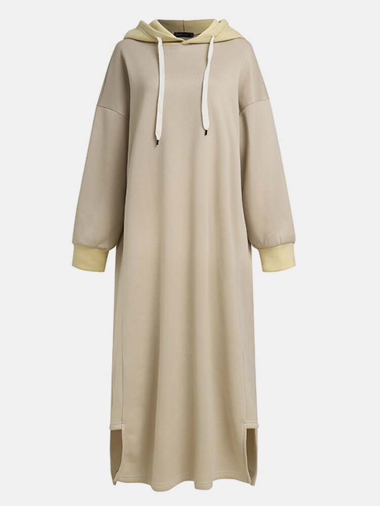 Casual Solid Color Side Slit Hooded Long Sleeve Dress