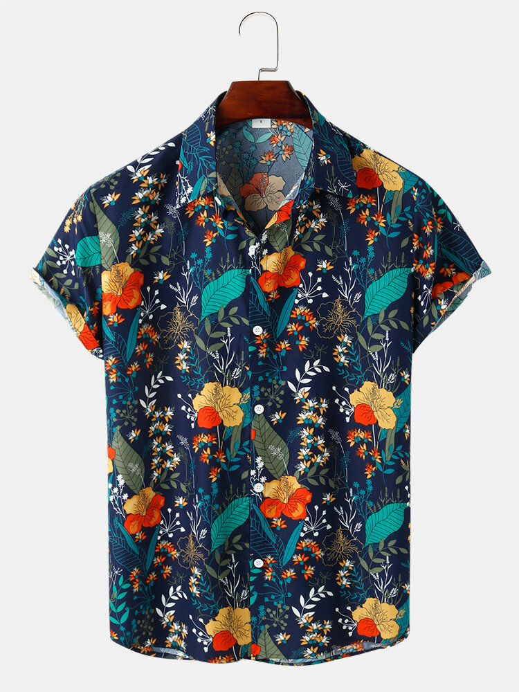 Mens Tropical Plant Print Button Up Lapel Holiday Short Sleeve Shirts