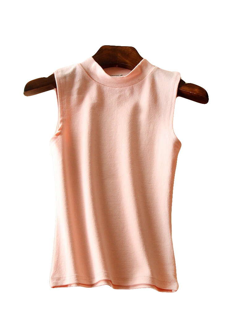 Solid Color O-neck Sleeveless T-shirts
