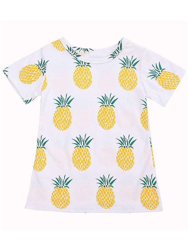 Girls Kids Short Sleeve O Neck Pineapple Printed T-shirts