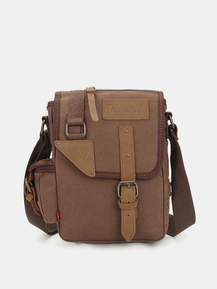 Augur Men's Vintage Leisure Genuine Leather Canvas Messenger Crossbody bag Shoulder Bag