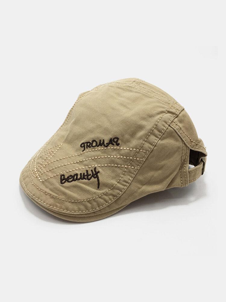 पुरुष पत्र कढ़ाई ठोस रंग आकस्मिक फैशन Sunvisor फ्लैट टोपी आगे टोपी टोपी टोपी