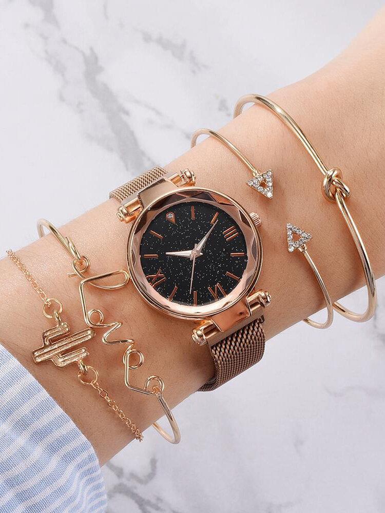 5 Pcs Women Wrist Watch Set Starry Sky Dial Quartz Watch Letter Cactus Open Bangle