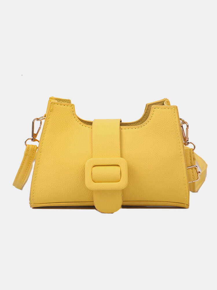 Women PU Solid Magnetic Button Shoulder Bag Crossbody Bag