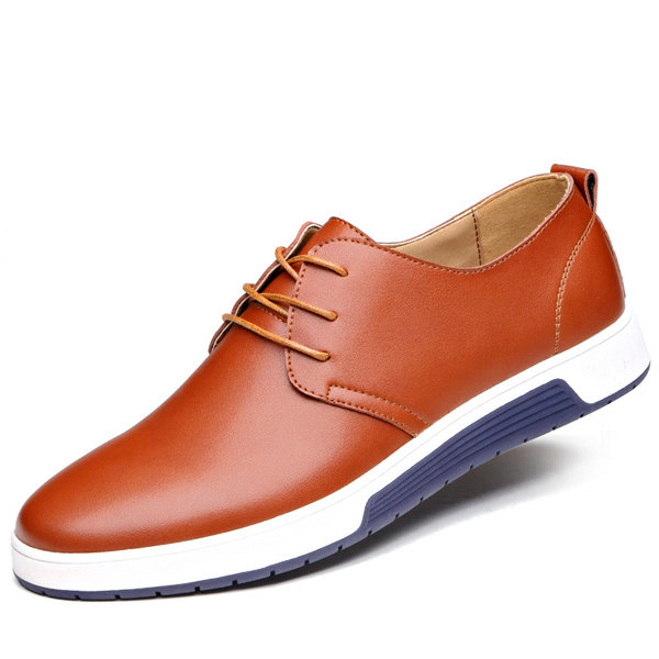 Large Size Men  British Style Pure Color Leather Soft Casual Driving Shoes