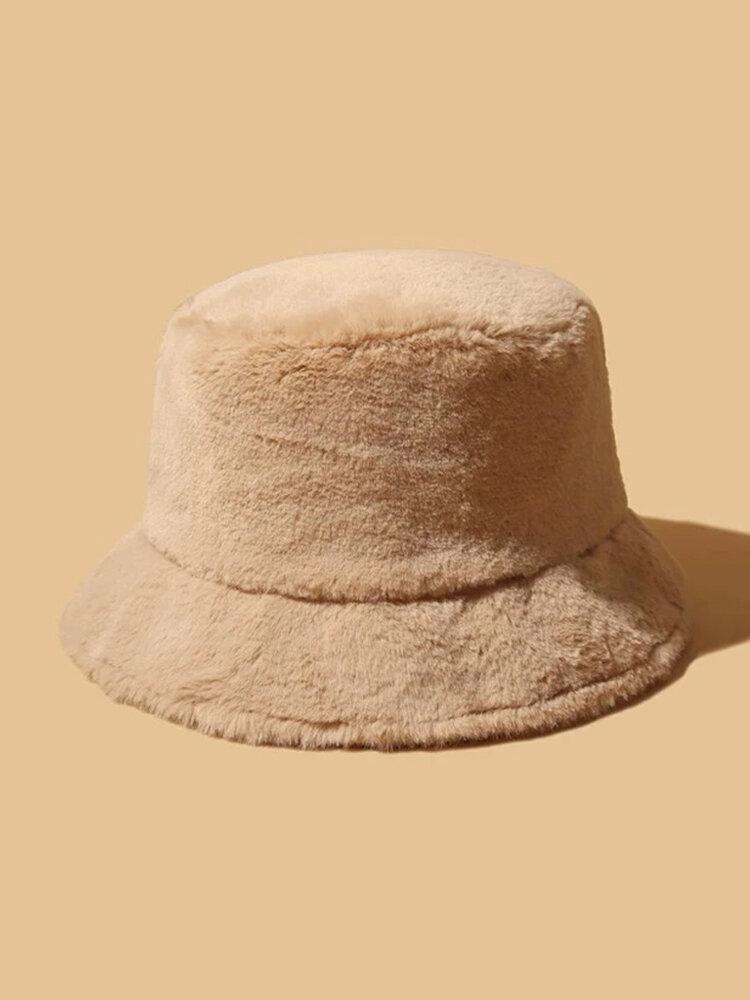 Cappello da pescatore invernale caldo in pelliccia spessa da donna tinta unita da bambina con top in velluto Fedora da donna