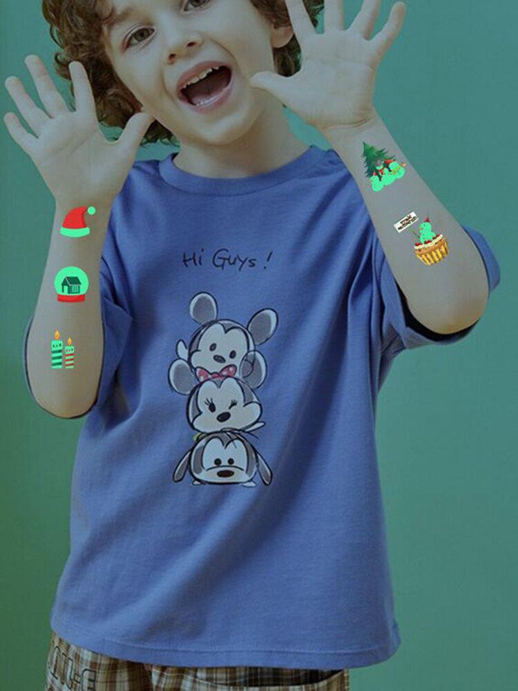 10 Pz Natale Cartone Animato Luminoso Bambini Tatuaggio Adesivi Impostato Carta Trasferibile Usa E Getta Impermeabile