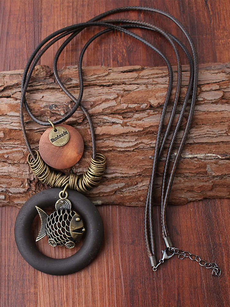 Ethnic Geometric Wood Pendant Necklaces Vintage Fish Two Layers Wax Rope Necklaces for Women