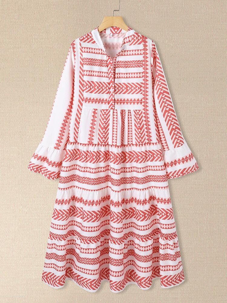 Geometric Print V-neck Plus Size Beach Tiered Dress