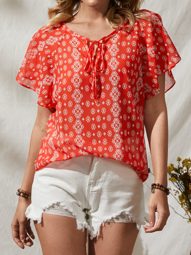 Floral Print Knotted Ruffle Short Sleeve V-neck Blouse For Women