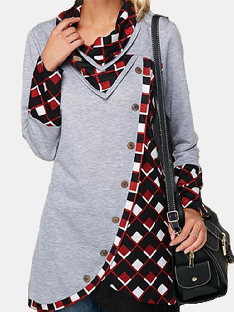 Plaid Patchwork V-neck Long Sleeve Plus Size Blouse with Buttons