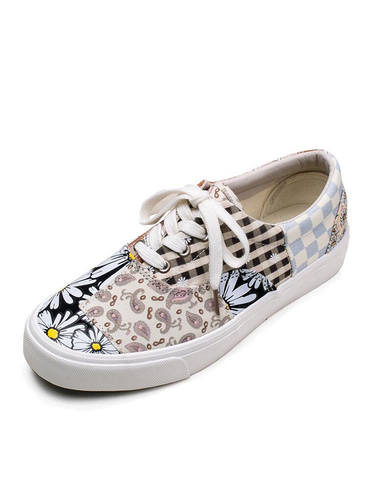 Men Lace-up Round Toe Stylish Lattice Pattern Daily Canvas Shoes