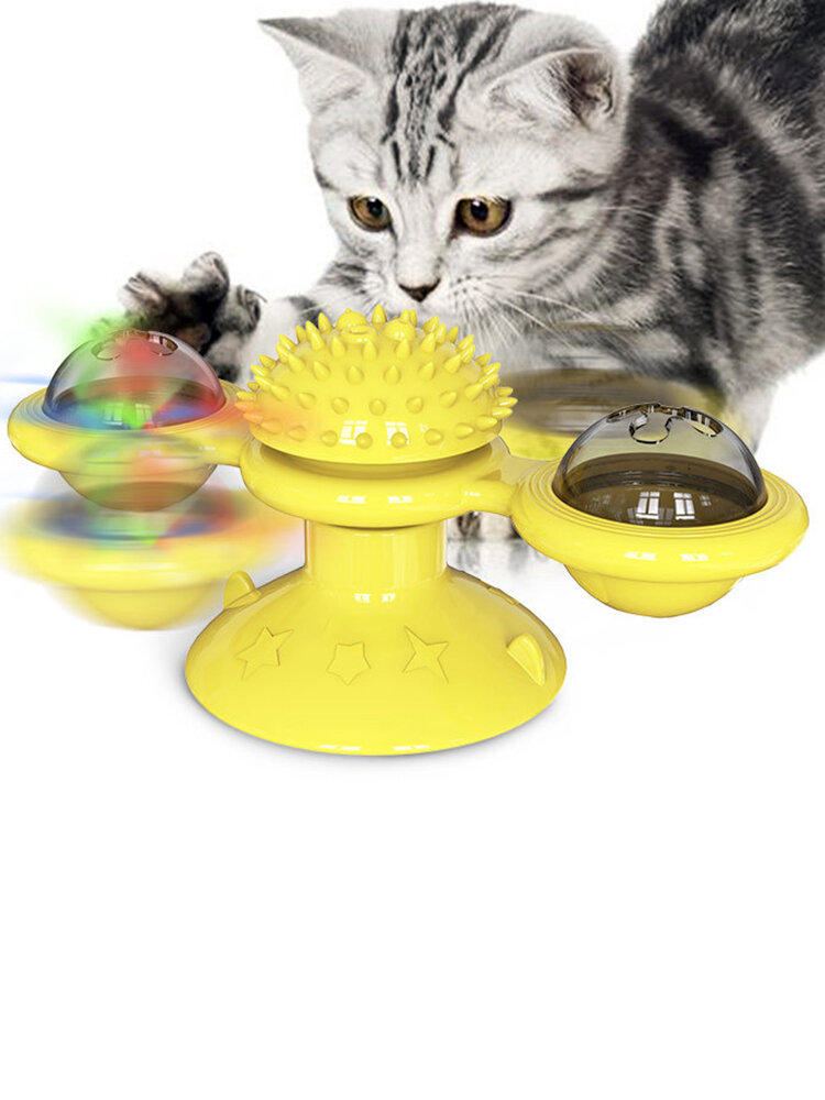 Rotating Turntable Cat Toy Pet Suction Cup Pet Ceaning Toy Comb Brushing Tooth Brush Toy