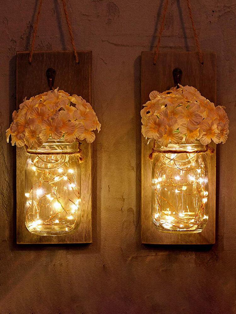 2 قطع ميسون جرة زهرة ضوء مع الموقت 6-LED الجنية ضوءs والزهور ريفي ديكور المنزل