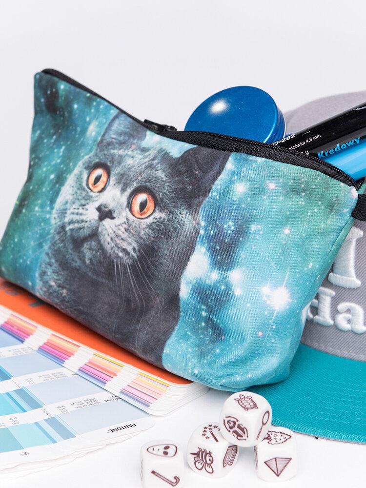 Cat 3D Printing Multi-Functional Cosmetic Bag Clutch Bag Storage Wash Bag