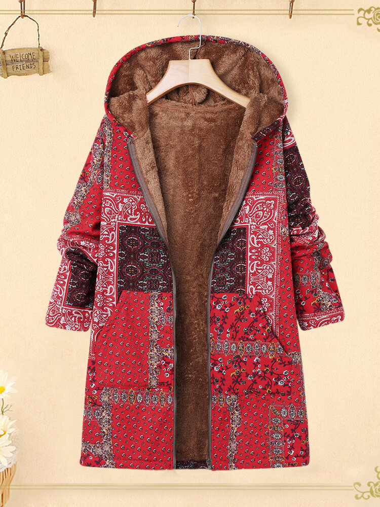 Floral Patchwork Hooded Long Sleeve Plus Size Jackets Fluffy Coat
