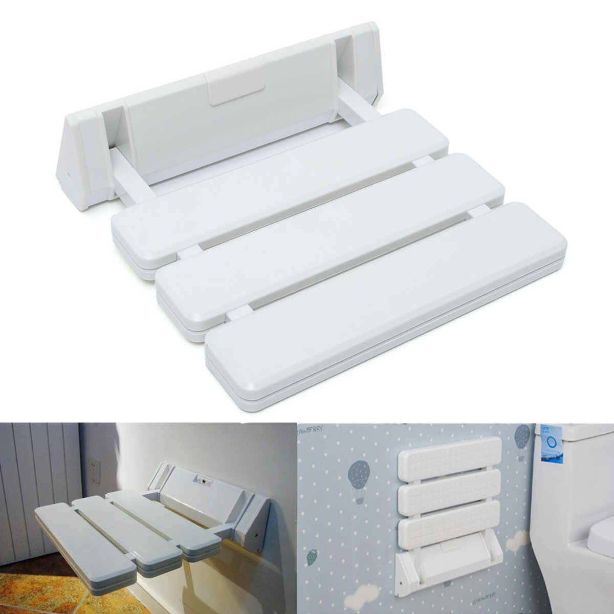 Bath Wall Mounted Folding Shower Seat Bench Stool With Mobility Aid For Bathroom