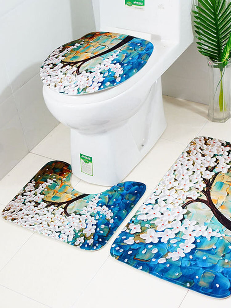 New Carved Happiness Tree Toilet Mat Three Sets Of Non-slip Absorbent Bathroom Mats E-commerce Hot