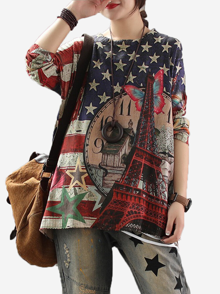 Flag Print Knit Long Sleeve Sweater