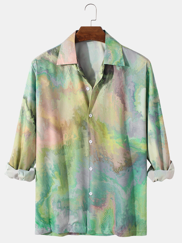 Mens All Over Tie Dye Print Lapel Casual Long Sleeve Shirts