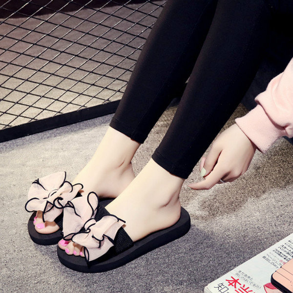 For Casual Beach Women Sandals Peep Toe Bowknot Flat ZiuXPkO