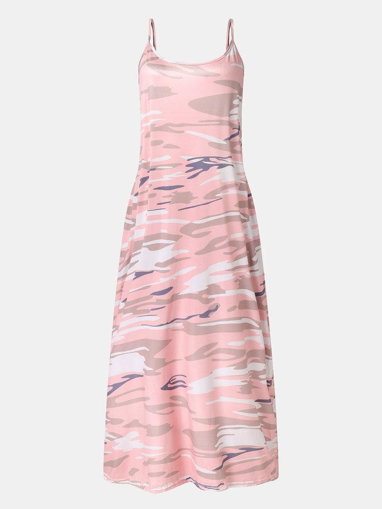 Camo Print Adjustable Shoulder Strap Pocket Maxi Dress