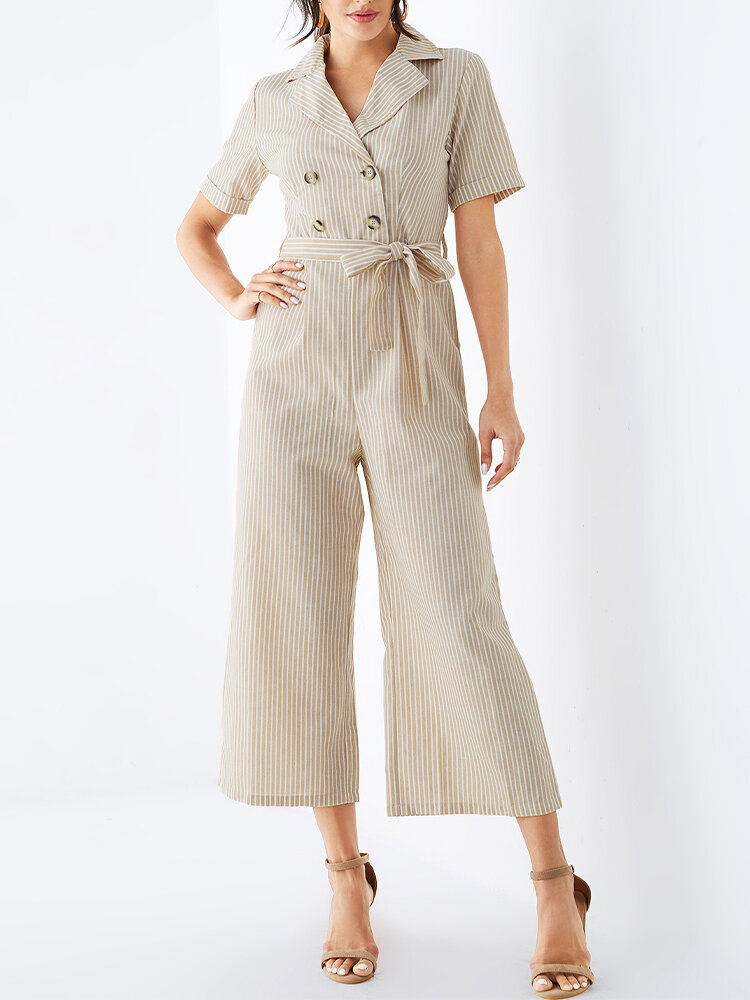 Striped Print Button Waistband Short Sleeve Casual Jumpsuit for Women