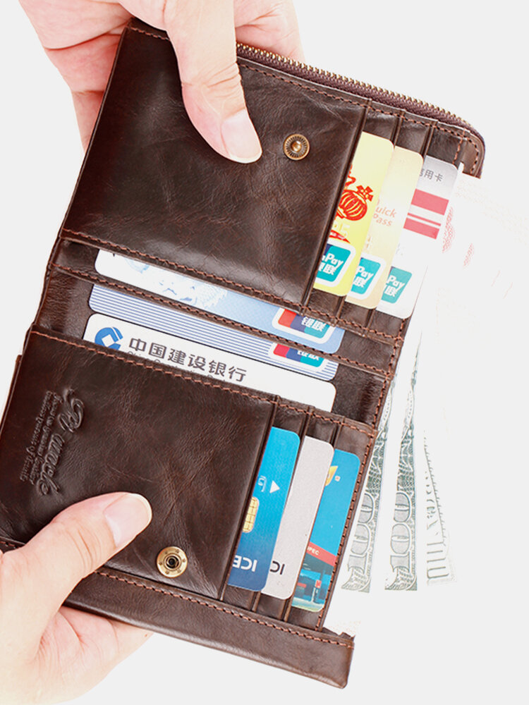 Men Genuine Leather RFIID Multi-slots Retro Large Capacity Foldable Card Holder Wallet