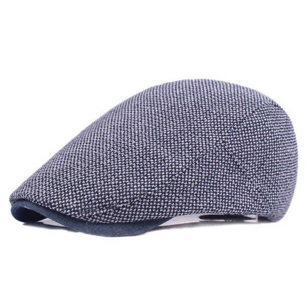 Mens Cotton Solid Sunshade Beret Caps Casual Travel Sunscreen Forward Hat Flat Caps