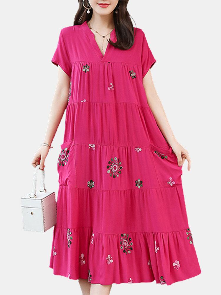 Women Loose Flower Print Short Sleeve V-neck Vintage Dress