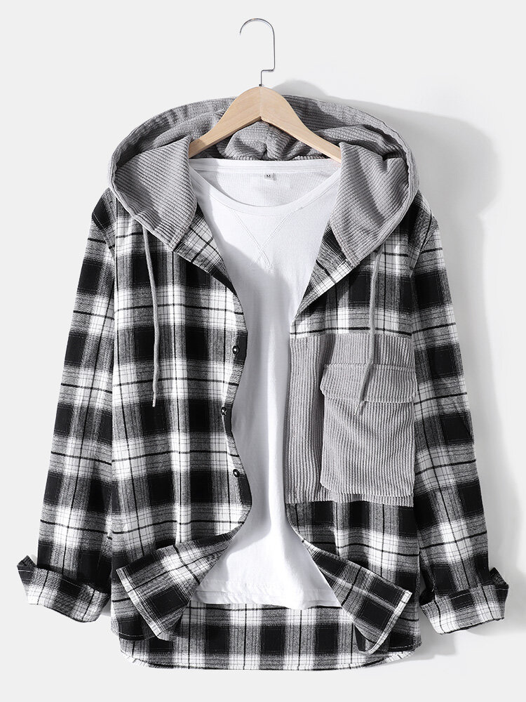 Mens 100% Cotton Classical Plaid Stitching Button Casual Hooded Shirts