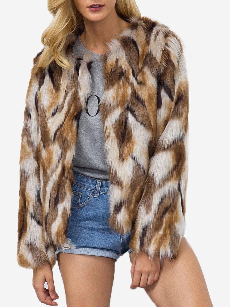 Color Mixing Round Neck Long Sleeve Faux Fur Short Coat