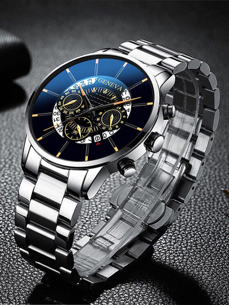 Decorated Pointer Men Business Watch Calendar Stainless Steel Leather Quartz Watch