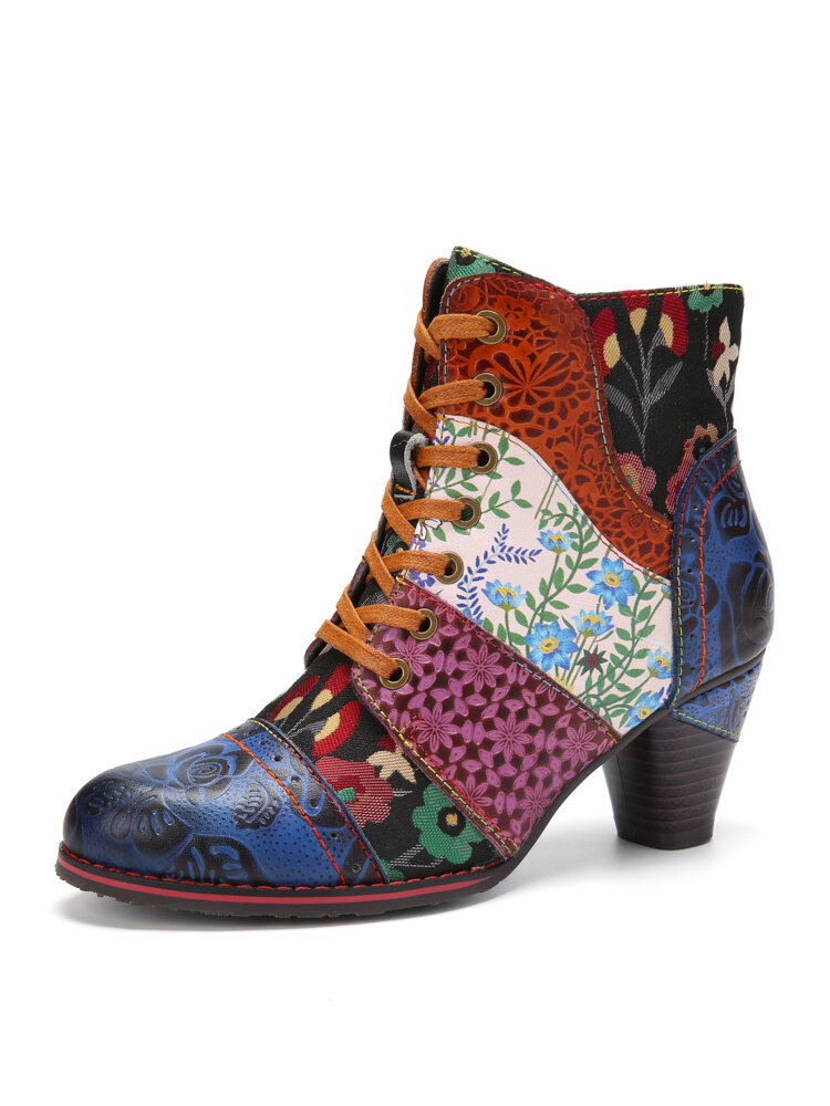 Socofy Retro Floral Embossed Leather Patchwork Lace-up Design Side Zipper Comfy Low Heel Short Ankle Boots