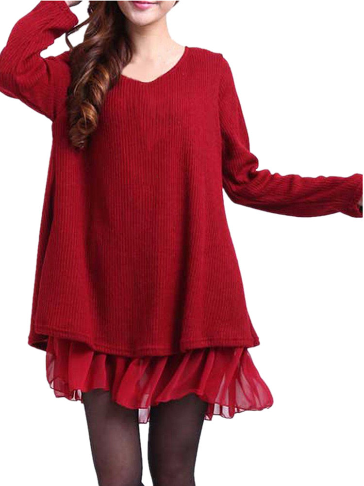 Casual Chiffon Patchwork Back Bow Double Layer Flared Blouse