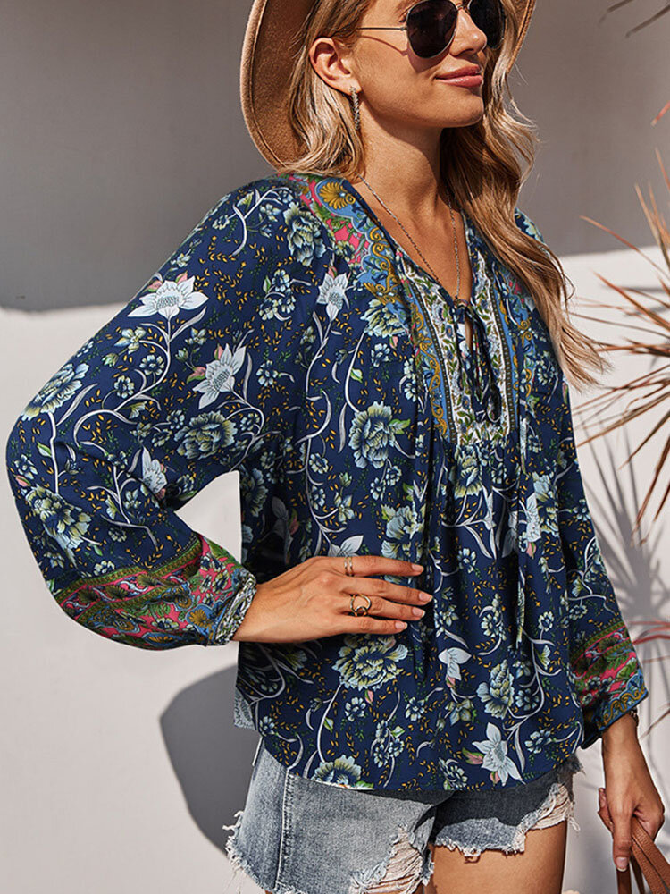 Holiday V-neck Knotted Long Sleeve Flower Print Blouse