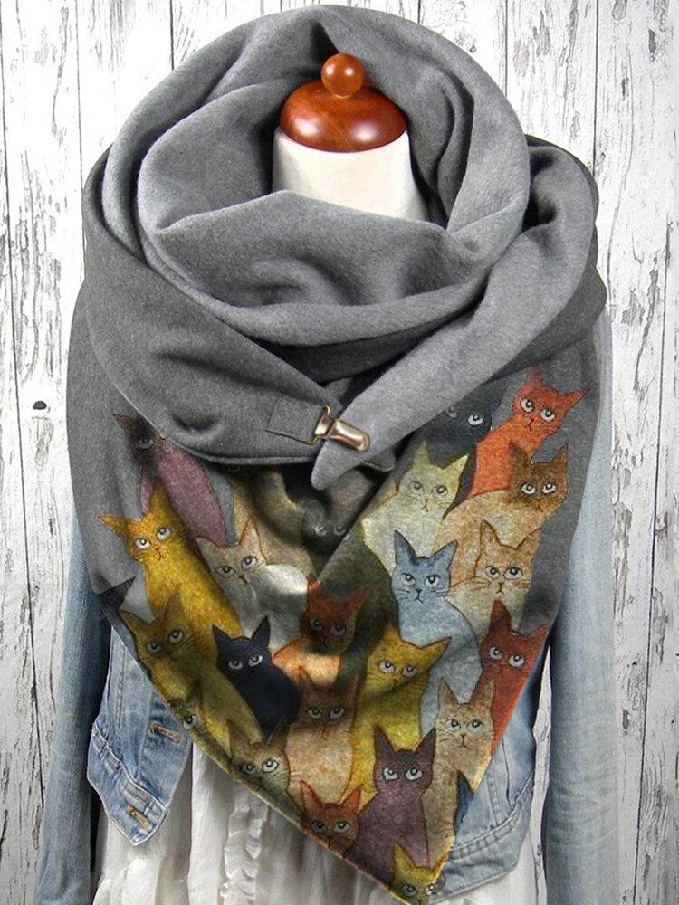 Женское Colorful Мультяшные милые кошки Шаблон Soft Личность Шея Защитный теплый шарф