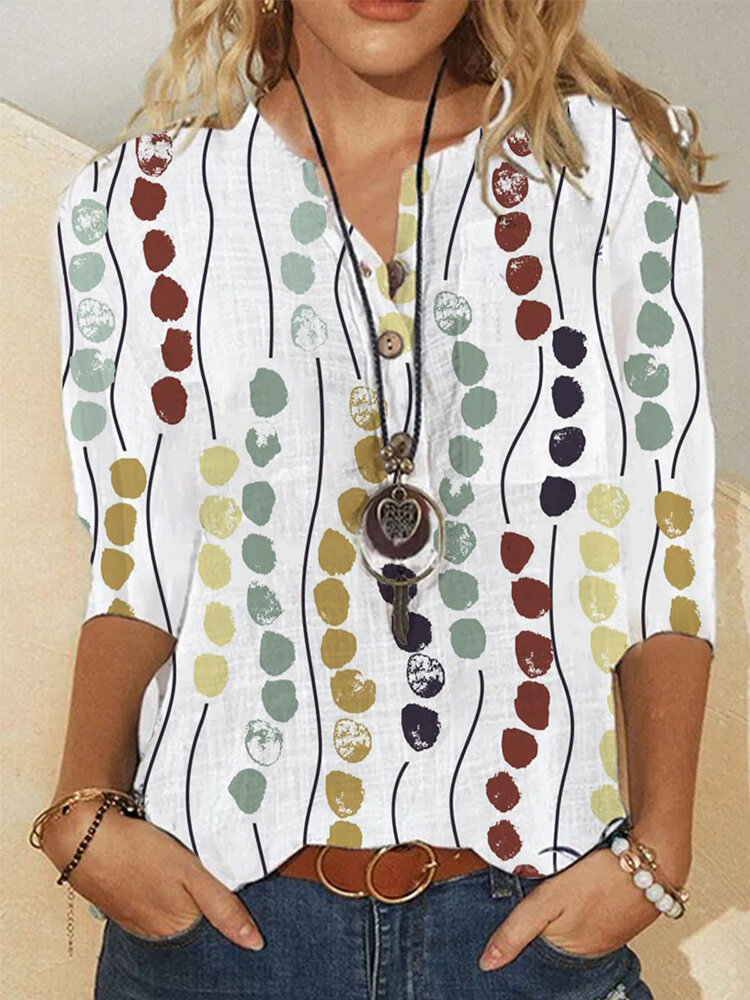 Multicolor Dot Print Long Sleeve Button Stand Collar Blouse