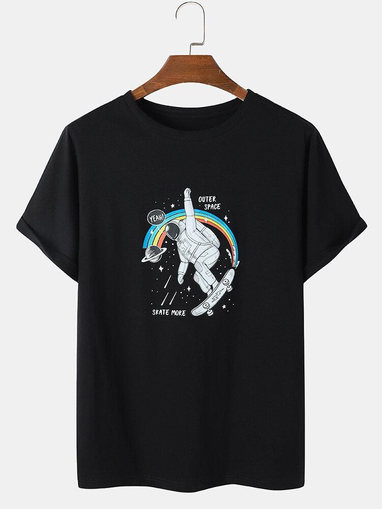 Mens Space Astronaut Graphic Preppy Short Sleeve Black T-Shirts