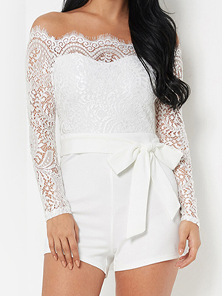 Solid Color Lace Patchwork Knotted Casual Romper for Women