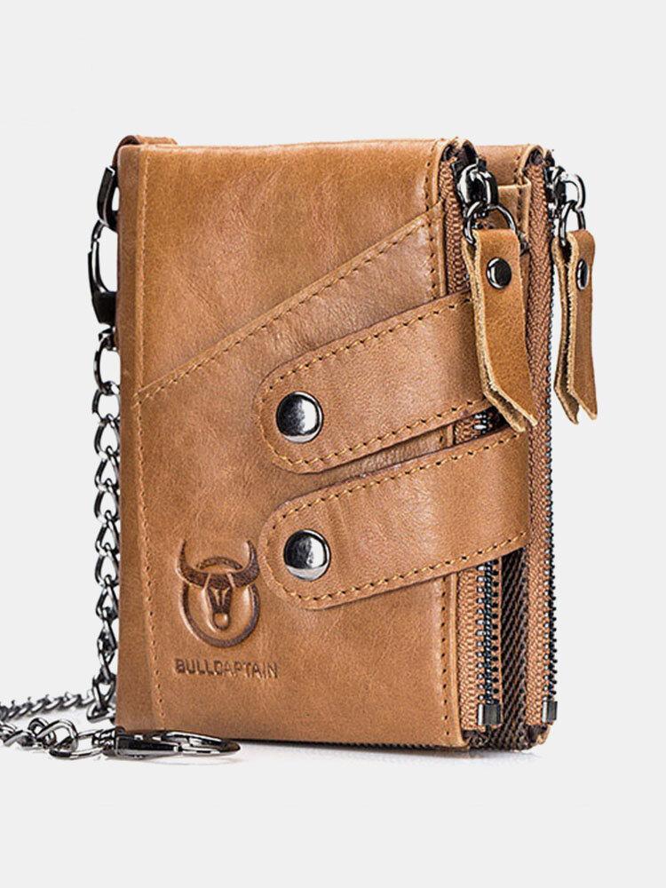 Men Vintage Genuine Leather Cowhide RFID Anti-theft Zipper Chain Card Holder Wallet