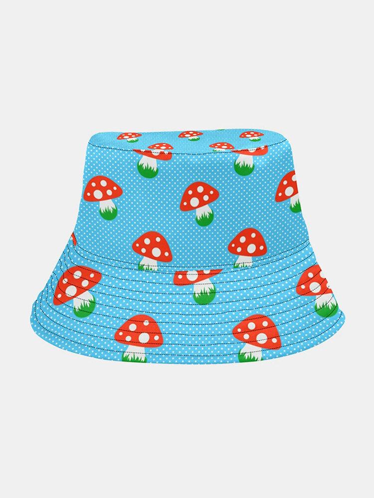 Collrown Women & Men Red Mushroom Pattern Print Casual Soft Outdoor Travel Bucket Hat