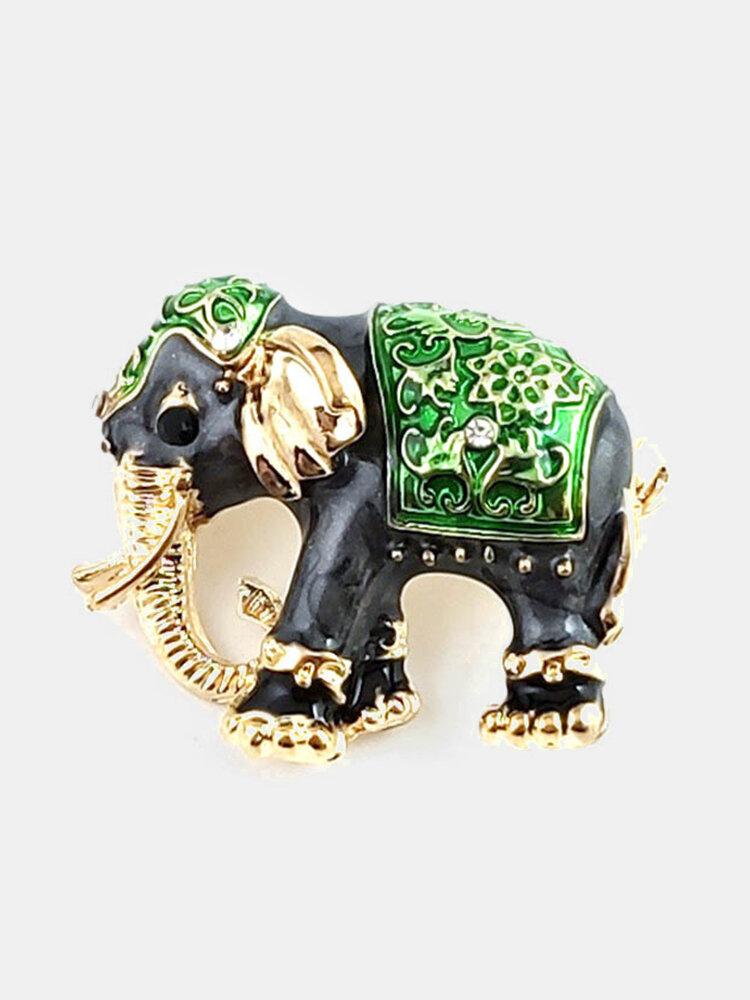 Fashion Elephant Brooch Pin Gem Alloy Metal Animal Brooches Women Brooch Decoration Jewelry