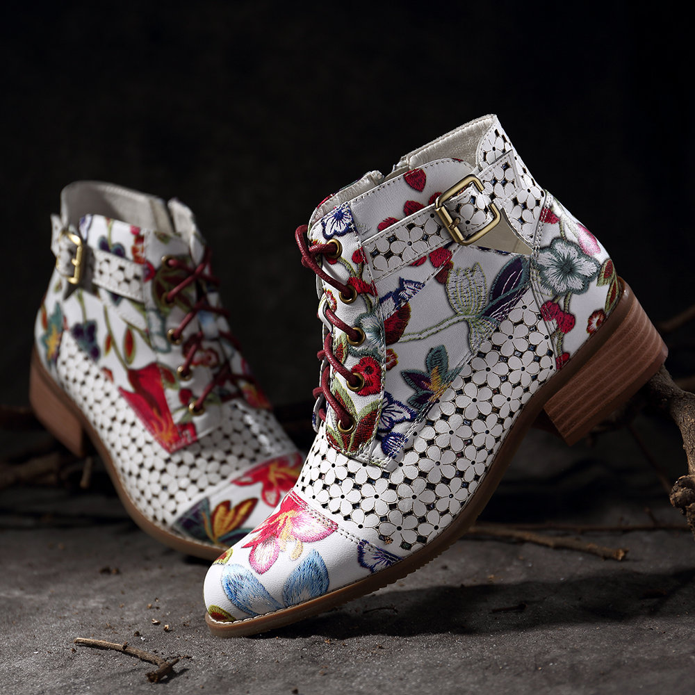 SOCOFY Ink Painting Flower Pattern Cow Leather Splicing Buckle Zipper Lace Up Stitching Ankle Boots