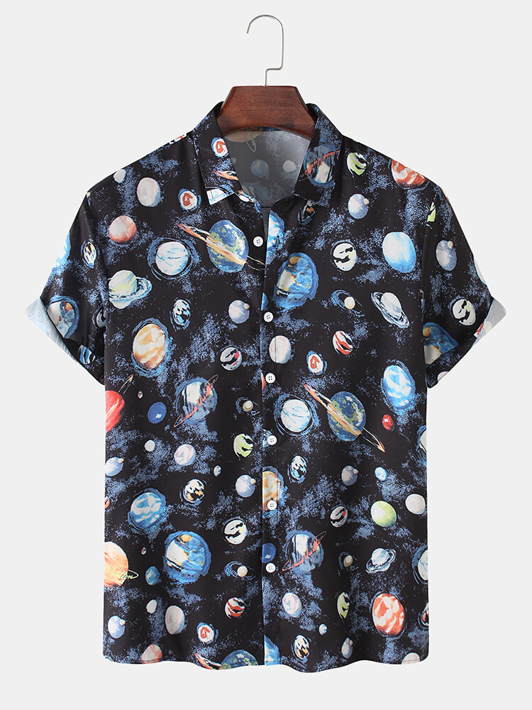 Mens Allover Colorful Planet Print Cotton Casual Short Sleeve Shirts