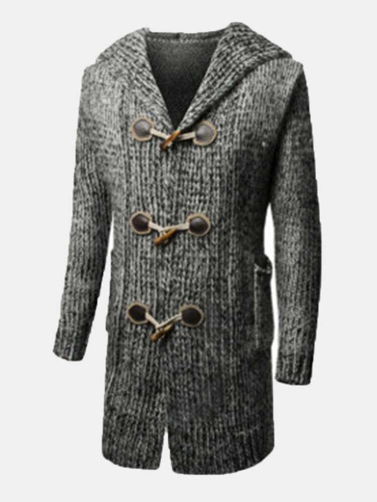 Mens Horns Button Jacquard Knit Loose Solid Color Mid-long Casual Hooded Cardigans