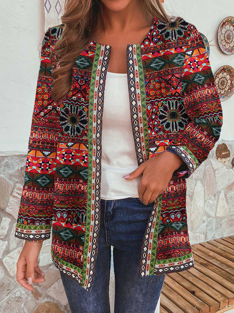 Vintage Ethnic Print Patchwork Pockets Jacket