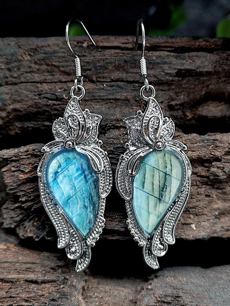 Alloy Bohemian Vintage Carved Malachite Geometric-shape Creative Flower Opal Earrings